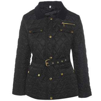 View Item Black Belted Diamond Quilted Coat with Cord Collar
